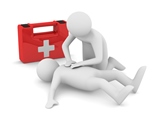 First aid. Artificial breath. Isolated 3D image